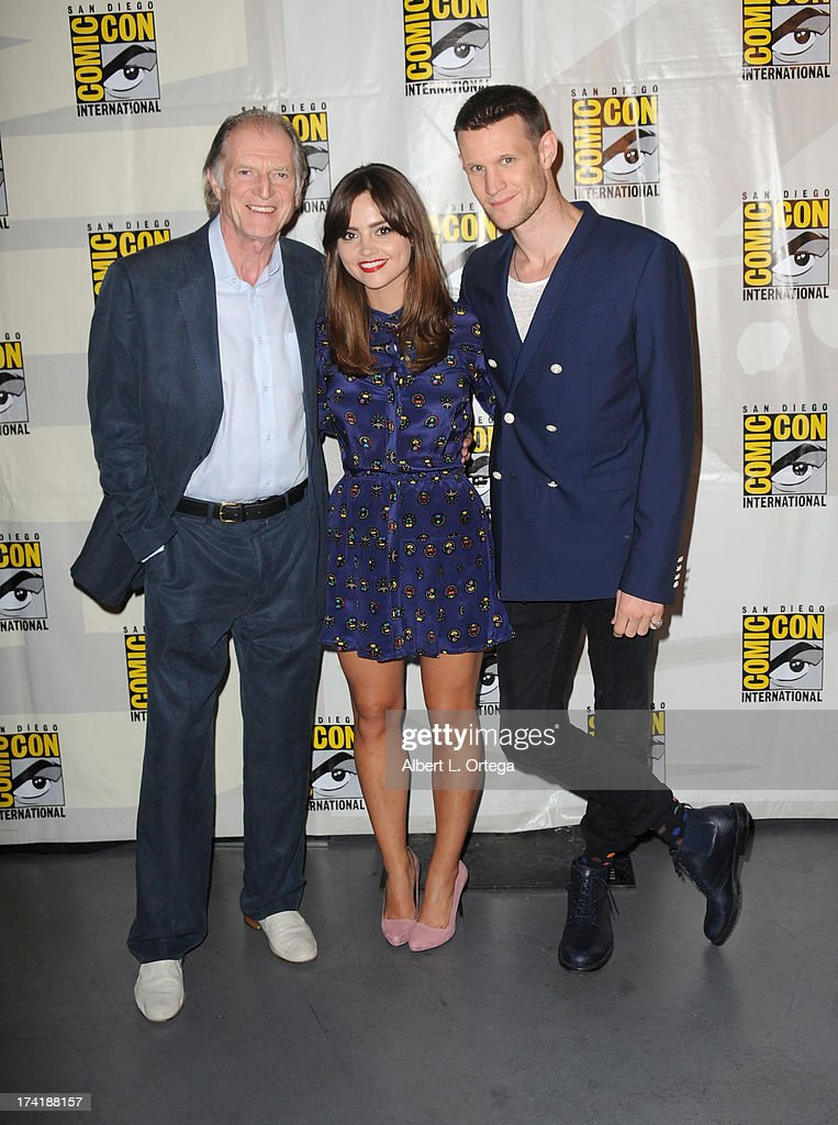 Actors David Bradley, Jenna Coleman, and <a gi-track='captionPersonalityLinkClicked' href=/galleries/search?phrase=Matt+Smith+-+Acteur&family=editorial&specificpeople=6877373 ng-click='$event.stopPropagation()'>Matt Smith</a> speak onstage at BBC America's 'Doctor Who' 50th Anniversary panel during Comic-Con International 2013 at San Diego Convention Center on July 21, 2013 in San Diego, California.