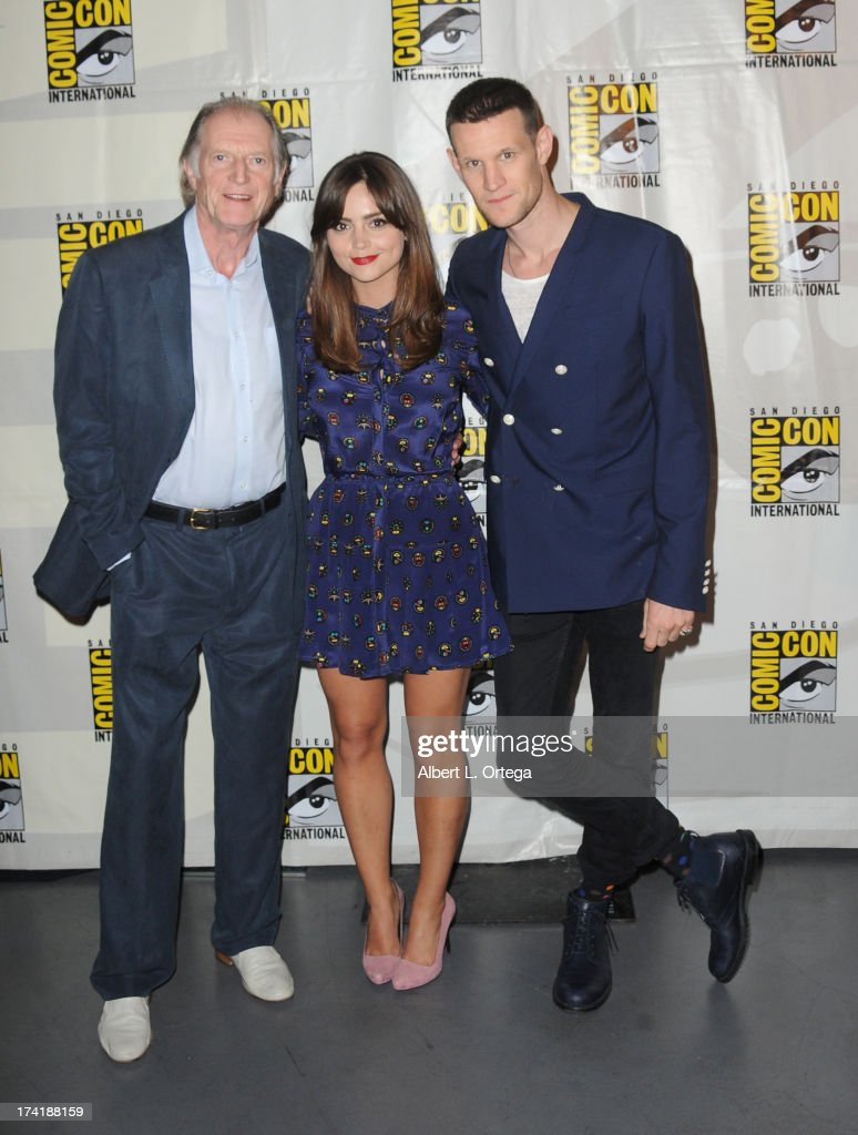 Actors David Bradley, Jenna Coleman, and Matt Smith speak onstage at BBC America's 'Doctor Who' 50th Anniversary panel during Comic-Con International 2013 at San Diego Convention Center on July 21, 2013 in San Diego, California.