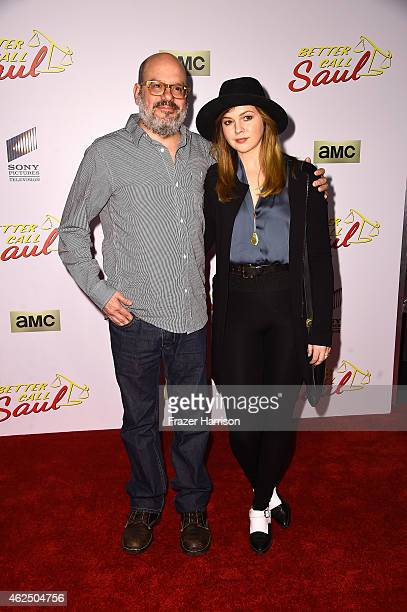 Actors David Cross and Amber Tamblyn arrive at the Series Premiere Of AMC's 'Better Call Saul' at Regal Cinemas LA Live on January 29 2015 in Los...