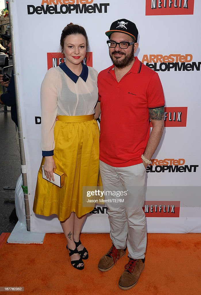 Actors David Cross and <a gi-track='captionPersonalityLinkClicked' href=/galleries/search?phrase=Amber+Tamblyn&family=editorial&specificpeople=202906 ng-click='$event.stopPropagation()'>Amber Tamblyn</a> arrive at the TCL Chinese Theatre for the premiere of Netflix's 'Arrested Development' Season 4 held on April 29, 2013 in Hollywood, California.
