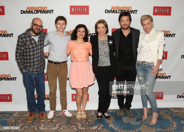 Actors David Cross Michael Cera Alia Shawkat Jessica Walter Jason Bateman and Portia de Rossi attend The Netflix Original Series 'Arrested...