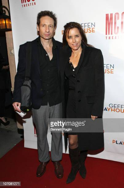Actors David Duchovny and Tea Leoni attend the after party for the opening night of 'The Break of Noon' at 49 Grove on November 22 2010 in New York...