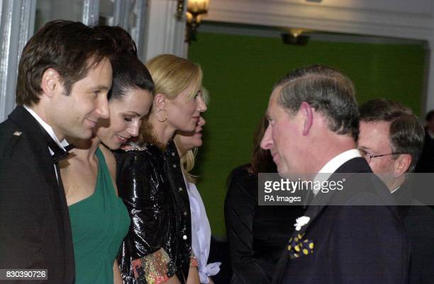 Actors David Duchovny Minnie Driver and Joely Richardson who star in the film meet the Prince of Wales at the premiere of Return to Me at the Odeon...