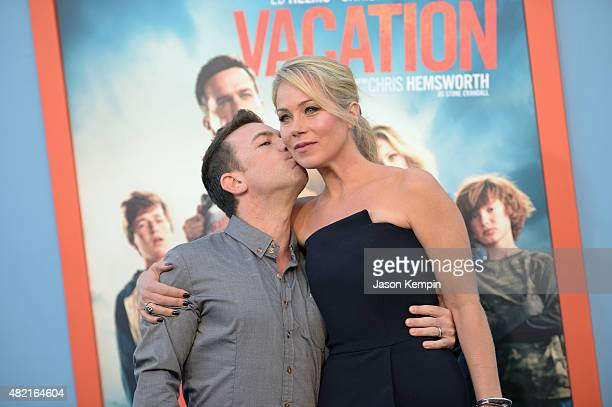 Actors David Faustino and Christina Applegate attend the premiere of Warner Bros 'Vacation' at Regency Village Theatre on July 27 2015 in Westwood...