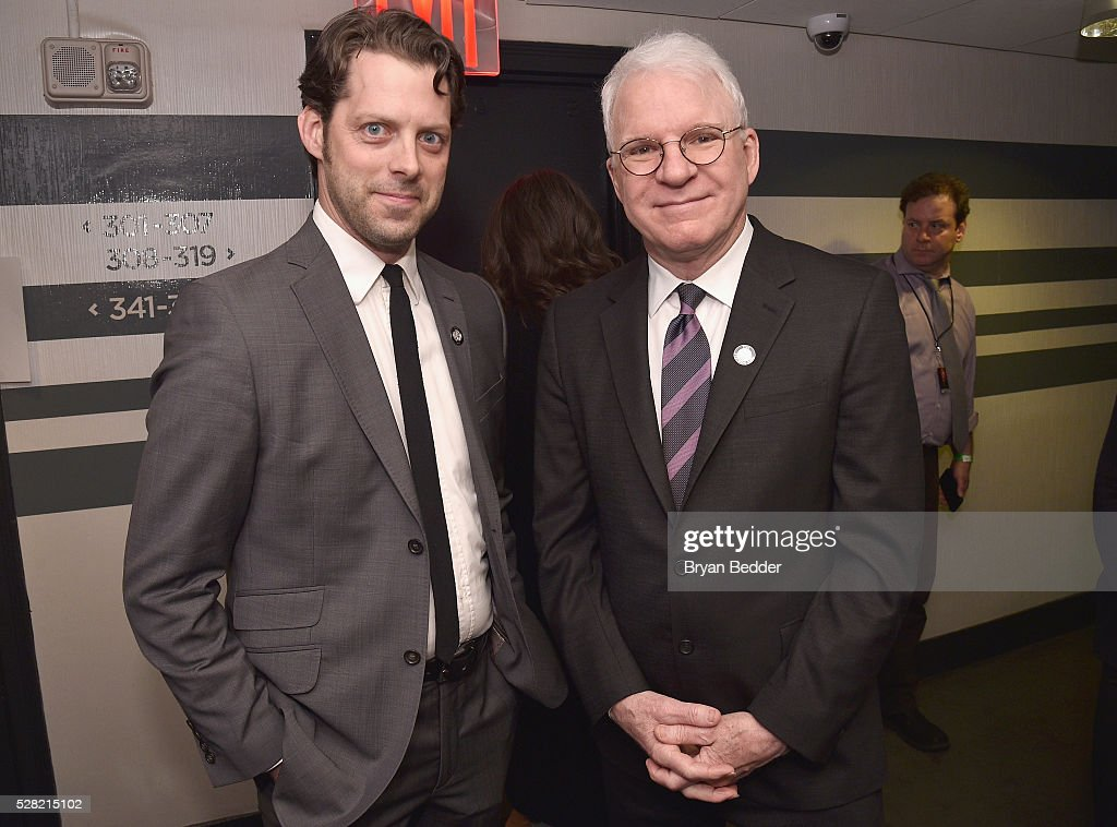 Actors David Furr (L) and <a gi-track='captionPersonalityLinkClicked' href=/galleries/search?phrase=Steve+Martin+-+Comedian&family=editorial&specificpeople=196544 ng-click='$event.stopPropagation()'>Steve Martin</a> attend the 2016 Tony Awards Meet The Nominees Press Reception on May 4, 2016 in New York City.