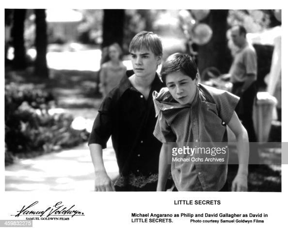 Actors David Gallagher Michael Angarano on the set of the Samuel Goldwyn Films movie 'Little Secrets' circa 2001