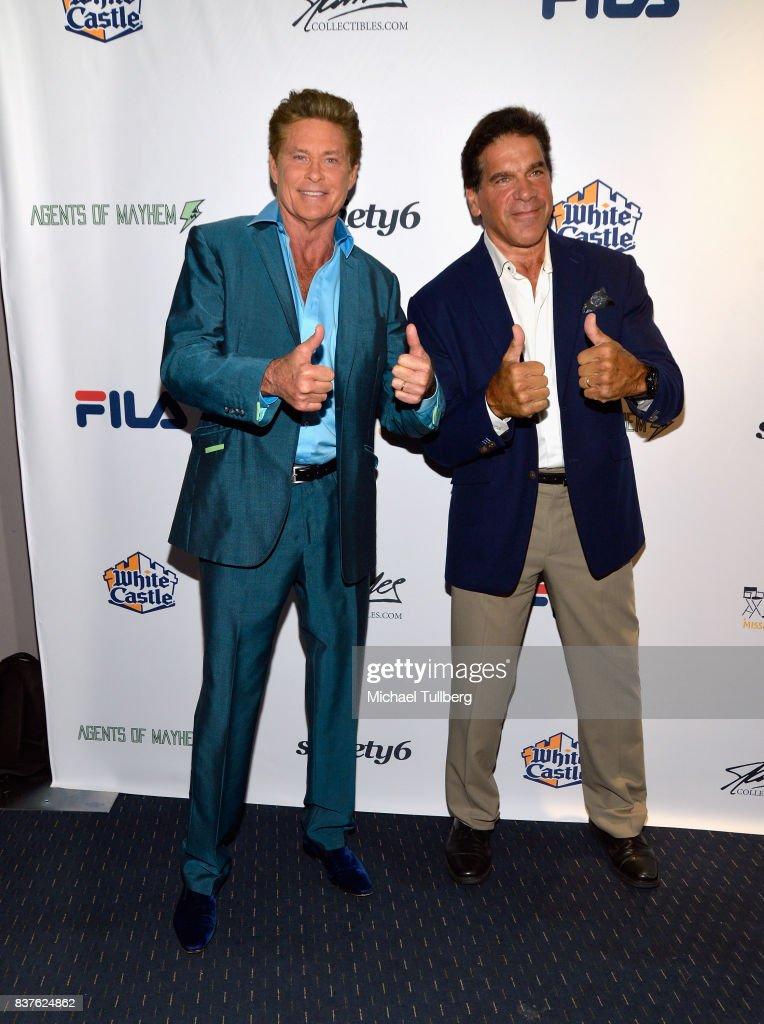 Actors David Hasselhoff and Lou Ferrigno attend the 'Extraordinary: Stan Lee' tribute event at Saban Theatre on August 22, 2017 in Beverly Hills, California.