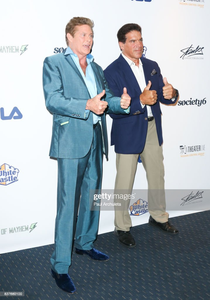 Actors David Hasselhoff (L) and Lou Ferrigno (R) attend the 'Extraordinary: Stan Lee' event at The Saban Theatre on August 22, 2017 in Beverly Hills, California.