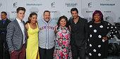 Actors David Henrie Daniella Alonso actor/writer/producer Kevin James actors Raini Rodriguez Eduardo Verastegui and Loni Love arrive for the 'Paul...