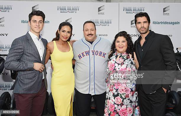 Actors David Henrie Daniella Alonso Kevin James Raini Rodriguez and Eduardo Verastegui pose for a picutre at the 'Paul Blart Mall Cop 2' New York...