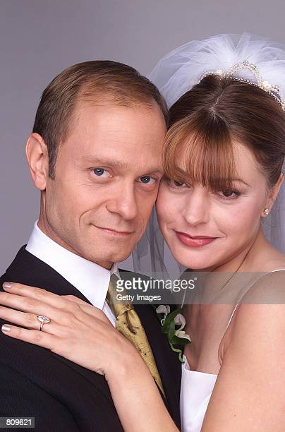 Actors David Hyde Pierce stars as Niles Crane and Jane Leeves stars as Daphne Moon in NBC's television comedy series 'Frasier' Episode 'And the Dish...