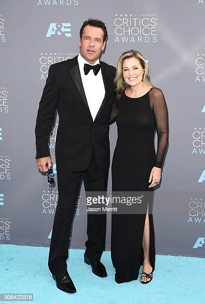 Actors David James Elliott and Nanci Chambers attend the 21st Annual Critics' Choice Awards at Barker Hangar on January 17 2016 in Santa Monica...