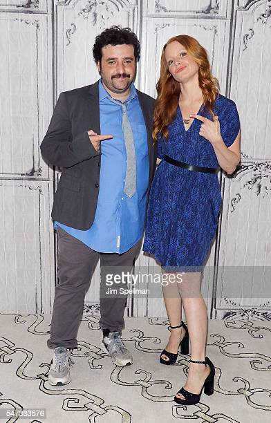 Actors David Krumholtz and Lauren Ambrose attend the AOL Build Speaker Series Lauren Ambrose and David Krumholtz 'The Interestings' at AOL HQ on July...