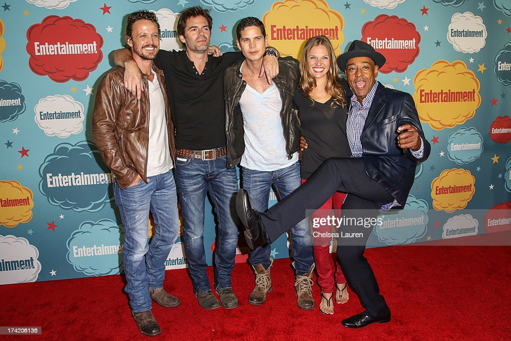 Actors David Lyons, <a gi-track='captionPersonalityLinkClicked' href=/galleries/search?phrase=Billy+Burke&family=editorial&specificpeople=602361 ng-click='$event.stopPropagation()'>Billy Burke</a>, JD Pardo, <a gi-track='captionPersonalityLinkClicked' href=/galleries/search?phrase=Tracy+Spiridakos&family=editorial&specificpeople=8954855 ng-click='$event.stopPropagation()'>Tracy Spiridakos</a> and <a gi-track='captionPersonalityLinkClicked' href=/galleries/search?phrase=Giancarlo+Esposito&family=editorial&specificpeople=725984 ng-click='$event.stopPropagation()'>Giancarlo Esposito</a> arrive at Entertainment Weekly's annual Comic-Con celebration at Float at Hard Rock Hotel San Diego on July 20, 2013 in San Diego, California.