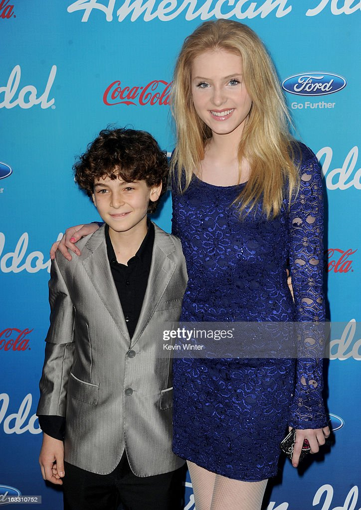 Actors <a gi-track='captionPersonalityLinkClicked' href=/galleries/search?phrase=David+Mazouz&family=editorial&specificpeople=8777419 ng-click='$event.stopPropagation()'>David Mazouz</a> (L) and <a gi-track='captionPersonalityLinkClicked' href=/galleries/search?phrase=Saxon+Sharbino&family=editorial&specificpeople=9710636 ng-click='$event.stopPropagation()'>Saxon Sharbino</a> attend the FOX 'American Idol' finalists party at The Grove on March 7, 2013 in Los Angeles, California.
