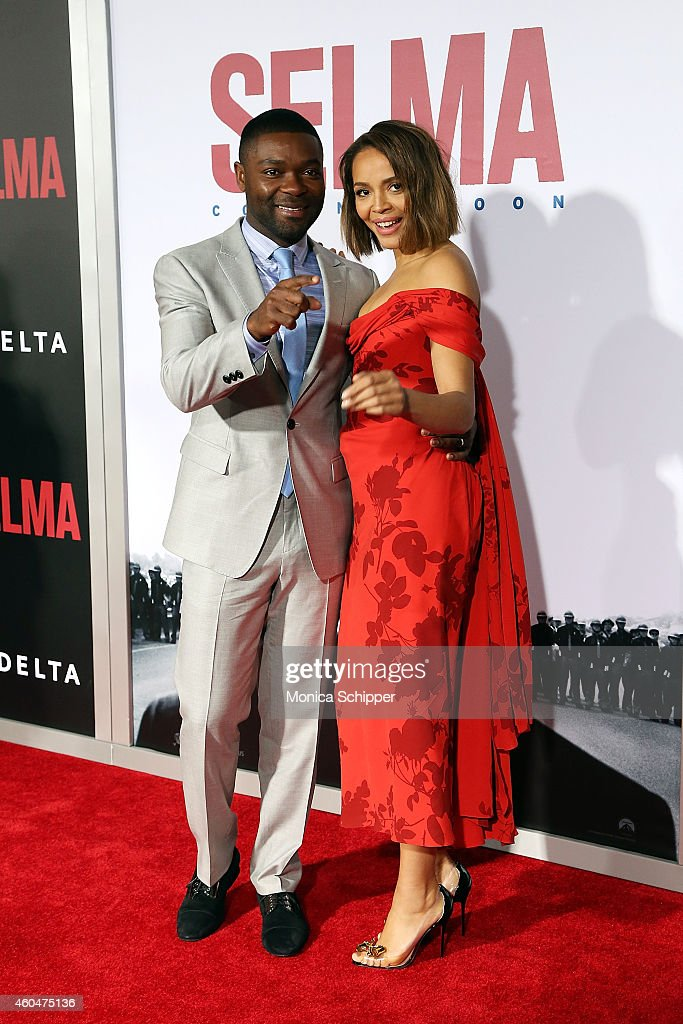 Actors David Oyelowo (L) and Carmen Ejogo attend 'Selma' New York Premiere - Inside Arrivals at Ziegfeld Theater on December 14, 2014 in New York City.