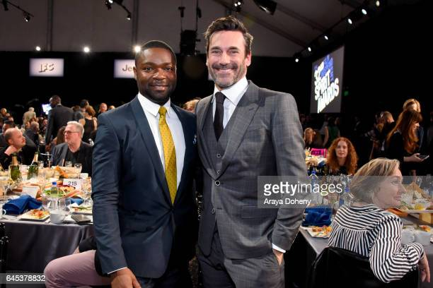 Actors David Oyelowo and Jon Hamm during the 2017 Film Independent Spirit Awards at the Santa Monica Pier on February 25 2017 in Santa Monica...