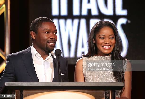 Actors David Oyelowo and Keke Palmer speak onstage during the 'The 45th Annual NAACP Image Awards' nominations announcement at the TV One portion of...