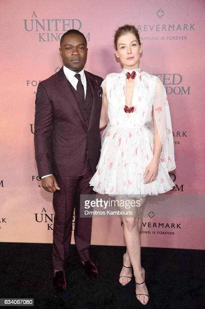 Actors David Oyelowo and Rosamund Pike attend the 'A United Kingdom' World Premiere at The Paris Theatre on February 6 2017 in New York City