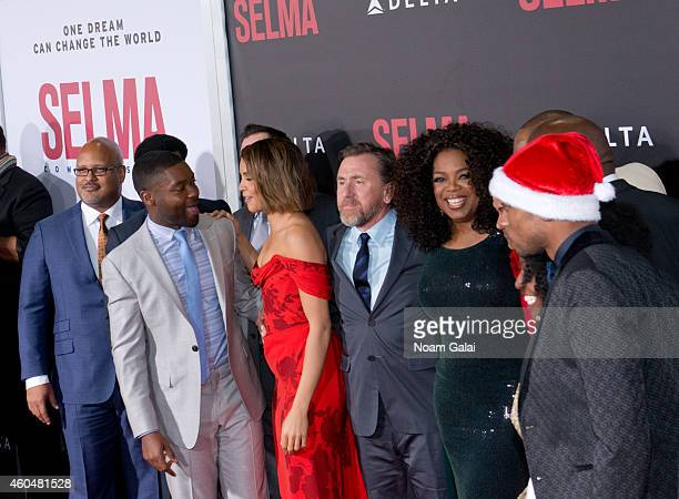 Actors David Oyelowo Carmen Ejogo Tim Roth and Oprah Winfrey attend the 'Selma' New York Premiere at Ziegfeld Theater on December 14 2014 in New York...