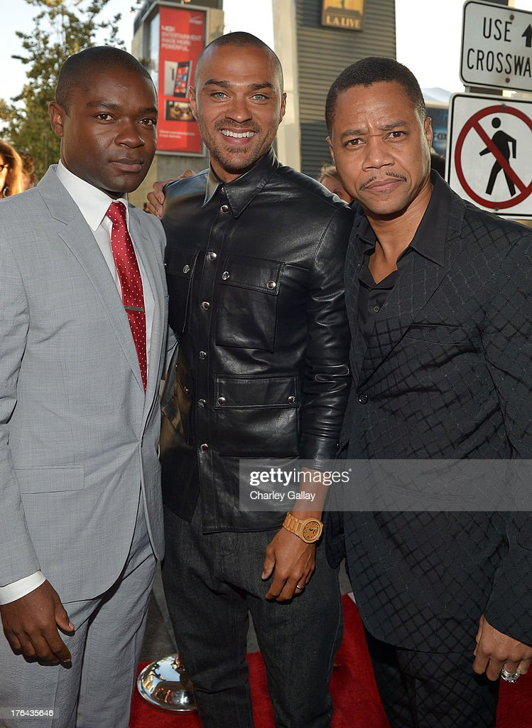 Actors David Oyelowo, Jesse Williams, and Cuba Gooding Jr. attend LEE DANIELS' THE BUTLER Los Angeles premiere, hosted by TWC, Budweiser and FIJI Water, Purity Vodka and Stack Wines, held at Regal Cinemas L.A. Live on August 12, 2013 in Los Angeles, California.