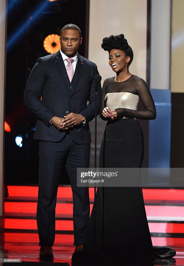 Actors David Ramsay (L) and Teyonah Parris onstage during the 47th NAACP Image Awards presented by TV One at Pasadena Civic Auditorium on February 5, 2016 in Pasadena, California.