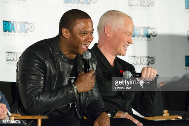 Actors David Ramsey and Neal McDonough attend 'The Arrow' QA for Fan Expo Vancouver in the Vancouver Convention Centre on November 11 2017 in...
