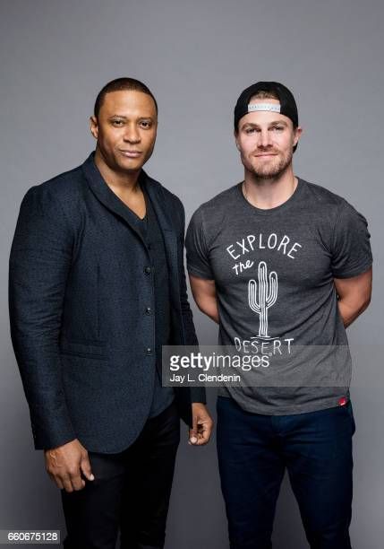 Actors David Ramsey and Stephen Amell from CW's 'Arrow' are photographed for Los Angeles Times on March 18 2017 in Los Angeles California PUBLISHED...