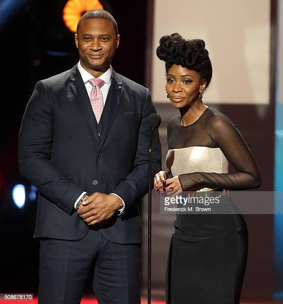 Actors David Ramsey and Teyonah Parris speak onstage during the 47th NAACP Image Awards presented by TV One at Pasadena Civic Auditorium on February...