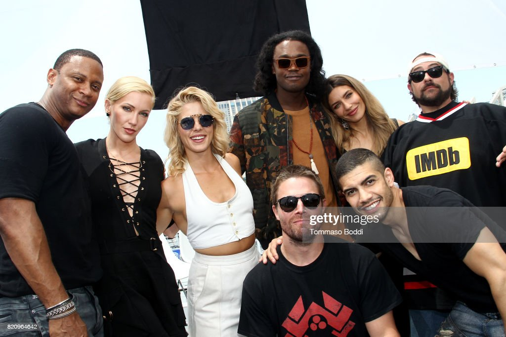Actors David Ramsey, Katie Cassidy, Emily Bett Rickards, Echo Kellum, Stephen Amell, Rick Gonzalez, Juliana Harkavy and host Kevin Smith on the #IMDboat at San Diego Comic-Con 2017 at The IMDb Yacht on July 22, 2017 in San Diego, California.