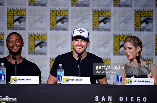 Actors David Ramsey Stephen Amell and Emily Bett Rickards attend the 'Arrow' Special Video Presentation and QA during ComicCon International 2016 at...