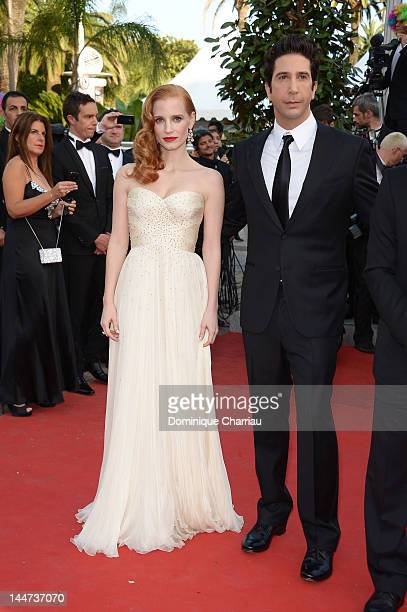 Actors David Schwimmer and Jessica Chastain attend the 'Madagascar 3 Europe's Most Wanted' Premiere during the 65th Annual Cannes Film Festival at...