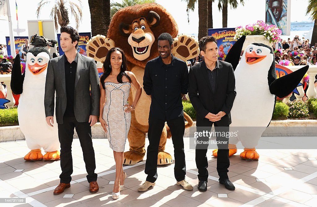 Actors David Schwimmer Jada PinkettSmith Chris Rock and Ben Stiller attend the 'Madagascar 3' Photo Op during the 65th Annual Cannes Film Festival at...