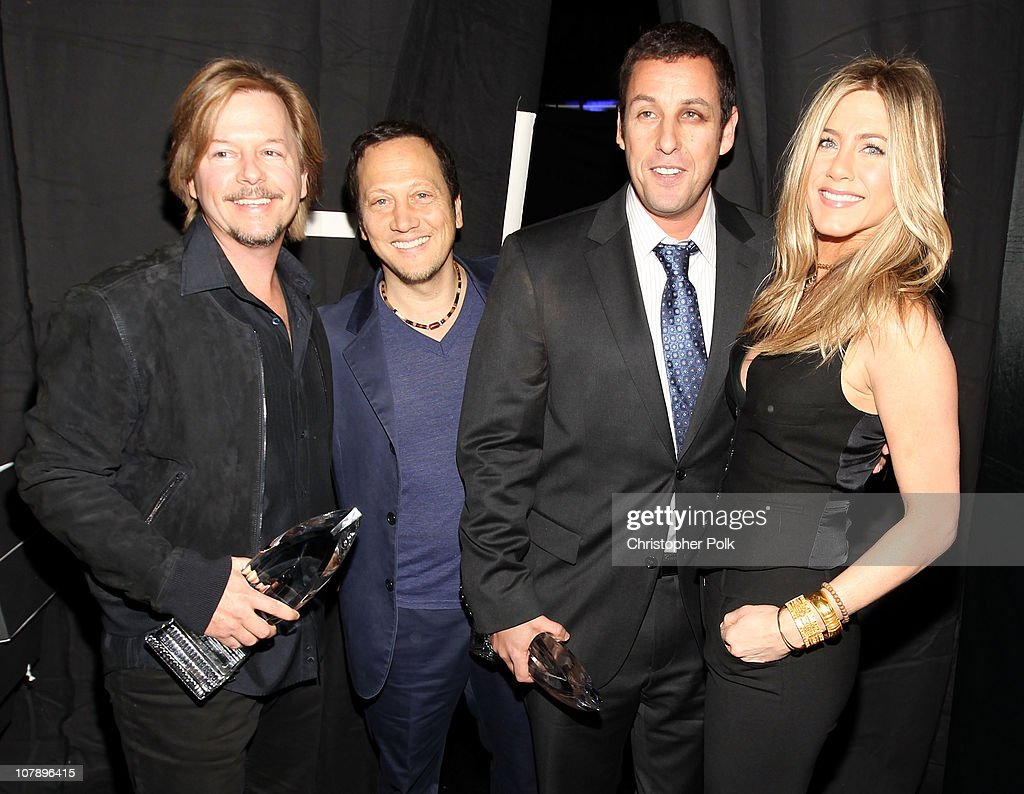 Actors <a gi-track='captionPersonalityLinkClicked' href=/galleries/search?phrase=David+Spade&family=editorial&specificpeople=209074 ng-click='$event.stopPropagation()'>David Spade</a>, <a gi-track='captionPersonalityLinkClicked' href=/galleries/search?phrase=Adam+Sandler&family=editorial&specificpeople=202205 ng-click='$event.stopPropagation()'>Adam Sandler</a>, <a gi-track='captionPersonalityLinkClicked' href=/galleries/search?phrase=Rob+Schneider&family=editorial&specificpeople=206329 ng-click='$event.stopPropagation()'>Rob Schneider</a> and <a gi-track='captionPersonalityLinkClicked' href=/galleries/search?phrase=Jennifer+Aniston&family=editorial&specificpeople=202048 ng-click='$event.stopPropagation()'>Jennifer Aniston</a> attend the 2011 People's Choice Awards at Nokia Theatre L.A. Live on January 5, 2011 in Los Angeles, California.