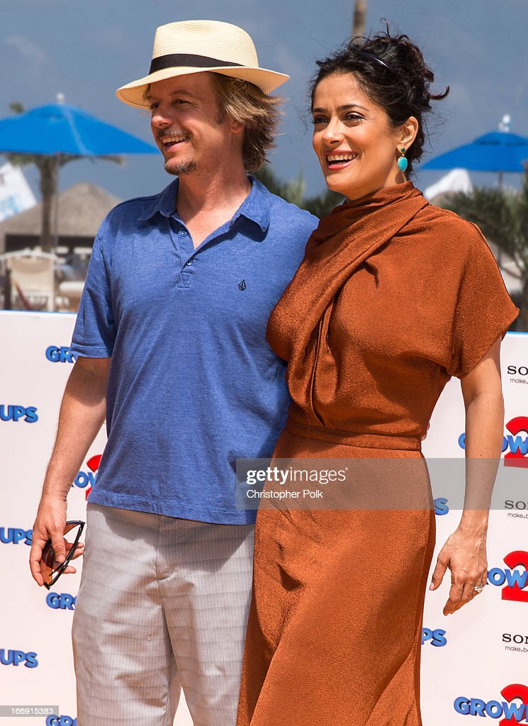 Actors <a gi-track='captionPersonalityLinkClicked' href=/galleries/search?phrase=David+Spade&family=editorial&specificpeople=209074 ng-click='$event.stopPropagation()'>David Spade</a> and <a gi-track='captionPersonalityLinkClicked' href=/galleries/search?phrase=Salma+Hayek&family=editorial&specificpeople=201844 ng-click='$event.stopPropagation()'>Salma Hayek</a> attend 'Grown Ups 2' Photo Call at The 5th Annual Summer Of Sony at the Ritz Carlton Hotel on April 18, 2013 in Cancun, Mexico.