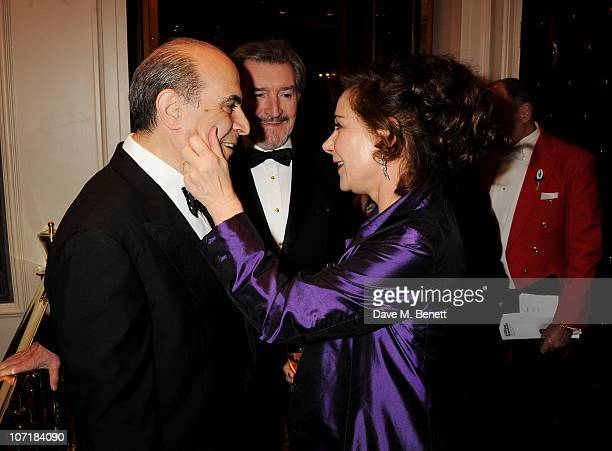 Actors David Suchet and Zoe Wanamaker attend the London Evening Standard Theatre Awards at The Savoy Hotel on November 28 2010 in London England