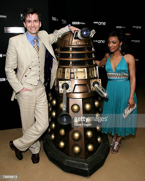 Actors David Tennant and Freema Agyeman attends a gala screening of television science fiction drama 'Doctor Who' to promote the third series at the...