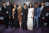Actors David Tennant Mike Colter Rachael Taylor Erin Moriarty CarrieAnne Moss Krysten Ritter Eka Darville and Wil Traval attend the 'Jessica Jones'...