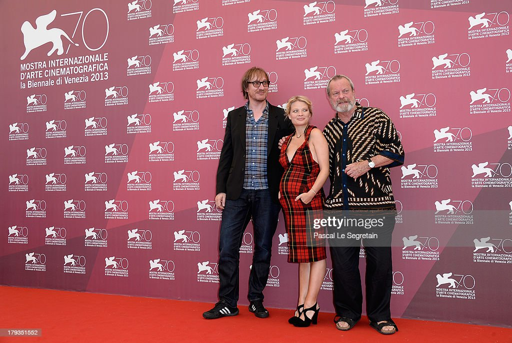 Actors <a gi-track='captionPersonalityLinkClicked' href=/galleries/search?phrase=David+Thewlis&family=editorial&specificpeople=213624 ng-click='$event.stopPropagation()'>David Thewlis</a>, <a gi-track='captionPersonalityLinkClicked' href=/galleries/search?phrase=Melanie+Thierry&family=editorial&specificpeople=591332 ng-click='$event.stopPropagation()'>Melanie Thierry</a> and director <a gi-track='captionPersonalityLinkClicked' href=/galleries/search?phrase=Terry+Gilliam&family=editorial&specificpeople=221636 ng-click='$event.stopPropagation()'>Terry Gilliam</a> attend 'The Zero Theorem' Photocall during the 70th Venice International Film Festival at the Palazzo del Casino on September 2, 2013 in Venice, Italy.