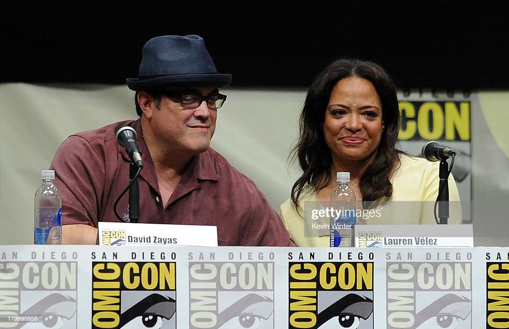 Actors <a gi-track='captionPersonalityLinkClicked' href=/galleries/search?phrase=David+Zayas&family=editorial&specificpeople=549697 ng-click='$event.stopPropagation()'>David Zayas</a> (L) and <a gi-track='captionPersonalityLinkClicked' href=/galleries/search?phrase=Lauren+Velez&family=editorial&specificpeople=748089 ng-click='$event.stopPropagation()'>Lauren Velez</a> speak onstage at Showtime's 'Dexter' panel during Comic-Con International 2013 at San Diego Convention Center on July 18, 2013 in San Diego, California.