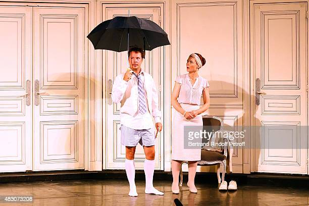 Actors Davy Sardou and Christelle Reboul perform in the 'Georges and Georges' Theater play during the 31th Ramatuelle Festival Day 5 on August 5 2015...