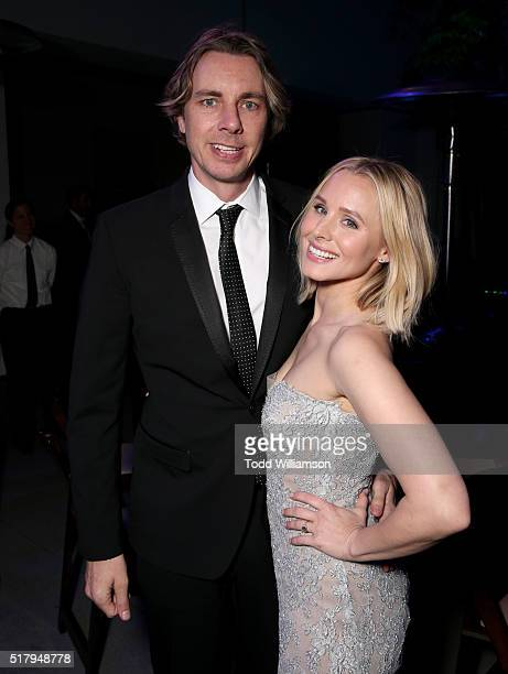 Actors Dax Shepard and Kristen Bell attend the premiere of USA Pictures' 'The Boss' after party at the Hammer Museum on March 28 2016 in Westwood...