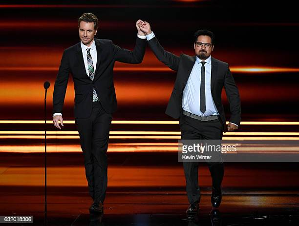 Actors Dax Shepard and Michael Pena speak onstage during the People's Choice Awards 2017 at Microsoft Theater on January 18 2017 in Los Angeles...