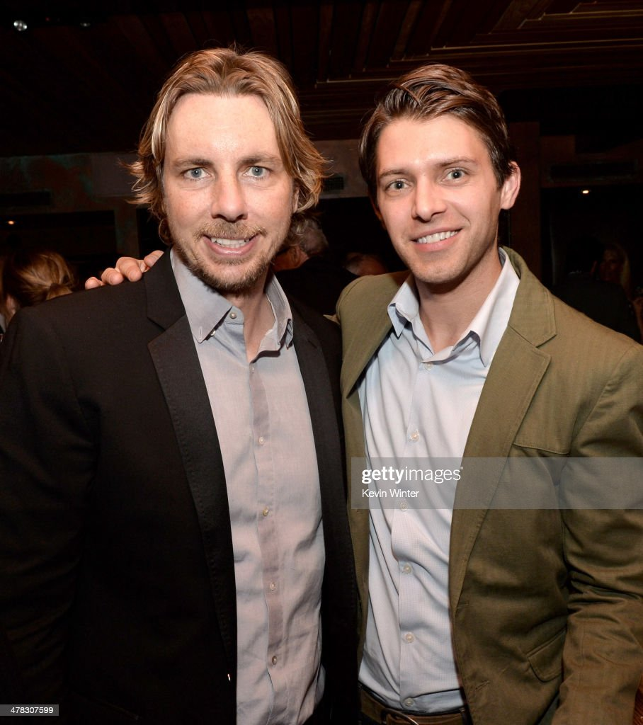 Actors Dax Shepard and Ryan Devlin pose at the after party for the premiere of 'Veronica Mars' at Sadies Kitchen on March 12 2014 in Los Angeles...