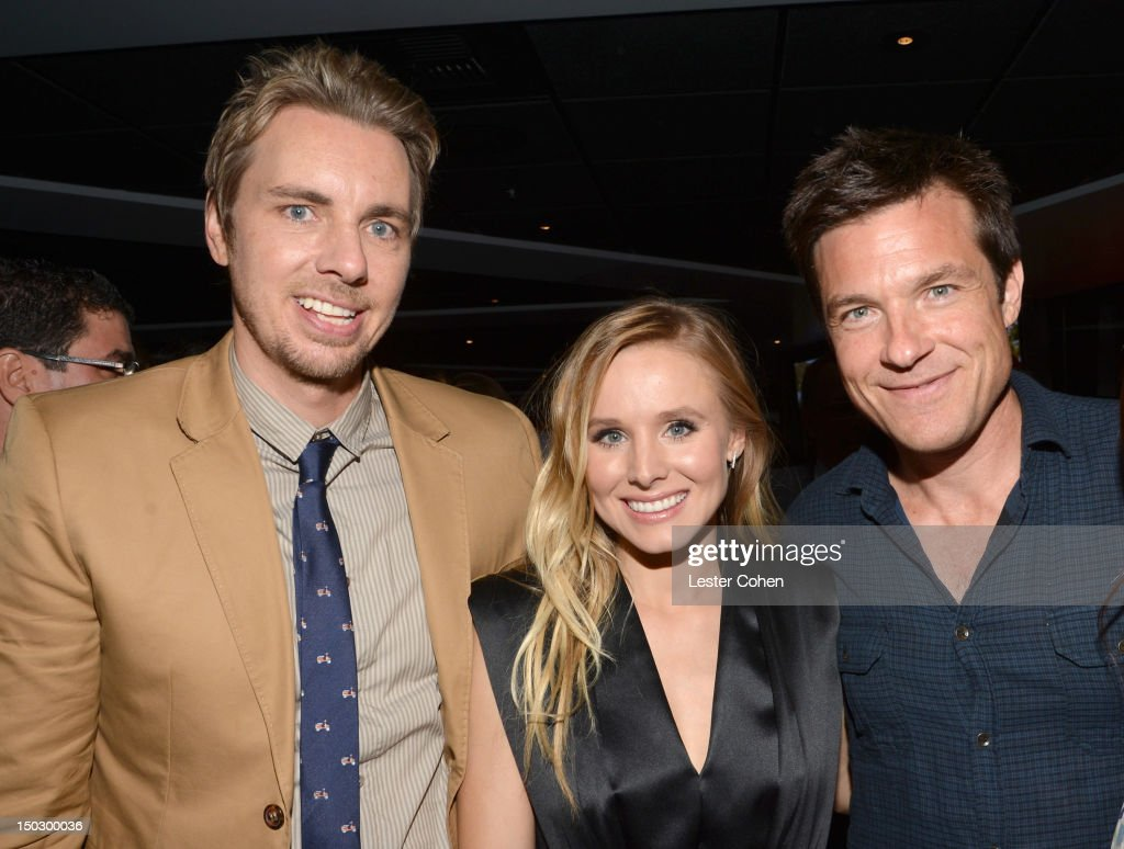 Actors <a gi-track='captionPersonalityLinkClicked' href=/galleries/search?phrase=Dax+Shepard&family=editorial&specificpeople=810830 ng-click='$event.stopPropagation()'>Dax Shepard</a>, <a gi-track='captionPersonalityLinkClicked' href=/galleries/search?phrase=Kristen+Bell&family=editorial&specificpeople=194764 ng-click='$event.stopPropagation()'>Kristen Bell</a>, and <a gi-track='captionPersonalityLinkClicked' href=/galleries/search?phrase=Jason+Bateman&family=editorial&specificpeople=204774 ng-click='$event.stopPropagation()'>Jason Bateman</a> attend the 'Hit & Run' premiere after party at ESPN Zone L.A. Live on August 14, 2012 in Los Angeles, California.