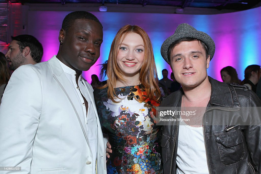 Actors Dayo Okeniyi, Jacqueline Emerson and <a gi-track='captionPersonalityLinkClicked' href=/galleries/search?phrase=Josh+Hutcherson&family=editorial&specificpeople=673588 ng-click='$event.stopPropagation()'>Josh Hutcherson</a> attend the NYLON Magazine 13th Anniversary Celebration Presented by Beadhead by Tigi at Smashbox West Hollywood on April 10, 2012 in West Hollywood, California.
