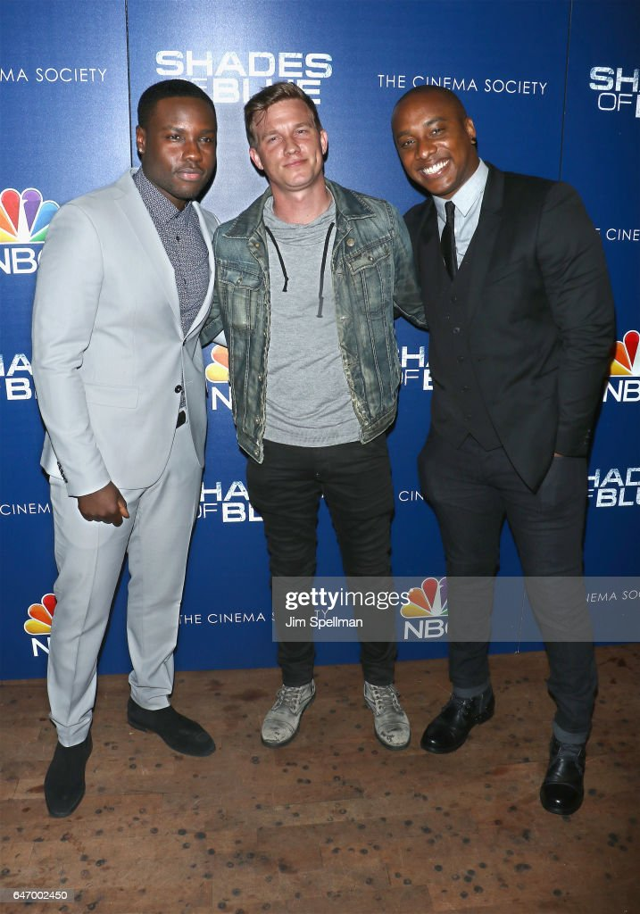 Actors Dayo Okeniyi, Warren Kole and Hampton Fluker attend the season 2 premiere of 'Shades Of Blue' hosted by NBC and The Cinema Society at The Roxy on March 1, 2017 in New York City.