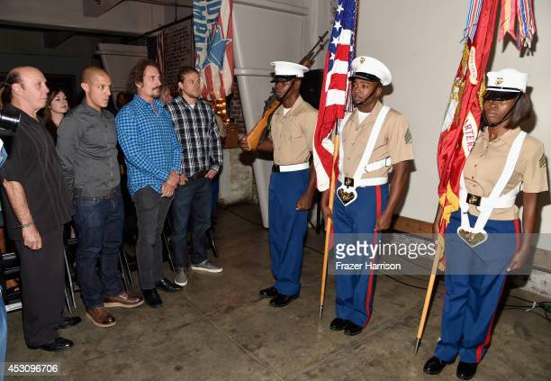 Actors Dayton Callie Theo Rossi Kim Coates and Charlie Hunnam attend Cast of FX's 'Sons of Anarchy' Host 'Boot Bash' benefiting The Boot Campaign at...