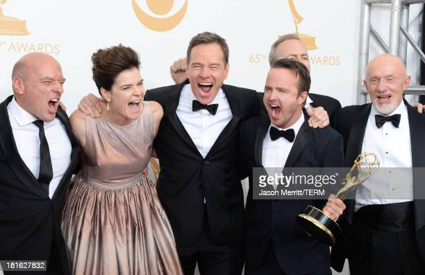 Actors Dean Norris Betsy Brandt Bryan Cranston Aaron Paul and Jonathan Banks winners of Outstanding Drama Series for 'Breaking Bad' pose in the press...