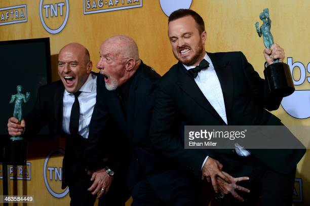 Actors Dean Norris Jonathan Banks and Aaron Paul winners of the Outstanding Performance by an Ensemble in a Drama Series award for 'Breaking Bad'...